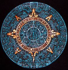 Aztec calendar small (crushed turquoise)