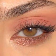 Pink Eye Makeup, Makeup Eye Looks, Eye Makeup Art, Cute Makeup, Girls Makeup, Pretty Makeup, Hair Makeup, Peachy Makeup Look, Simple Eye Makeup