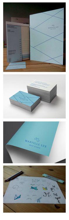 Corporate Design project for Marville Lux - Real Estate.  Logo Design Corporate Identity: Business card, Folder, Guideline Design Print & Paper: #Favini #Shiro #AlgaCarta - Laguna /Ivory