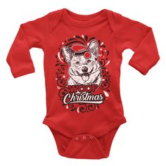"""""""Corgi"""" Onesie Infant Baby Rib Bodysuit digitally printed with baby safe ink. Size Body Length Body Width NB 7 8 9 10 All onesies are made to order."""