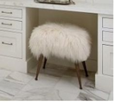 Bathroom or vanity Mongolian lamb covered bench