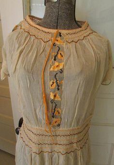 Flapper Dress Yellow Crinoline and Tangerine with Ruching #flapperdress #roaring20s #1920sfashion