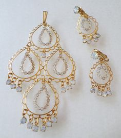Vintage Gold Tone Opalescent Rhinestones Large Pendant and Matching Dangle Earrings Set. by Bestintreasures on Etsy