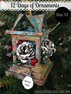 Stamptramp: 12 Days of Ornaments - Day 12! Copper patina on Tim Holtz luminary die from @Sizzix