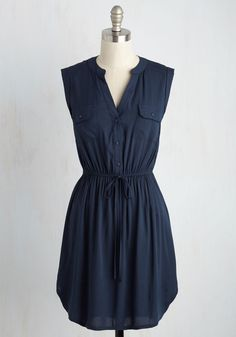 Woods to the Wise Dress. Arriving at the picnic shelter in this navy blue shirt dress, you present your foraged feast for all to enjoy! #blue #modcloth