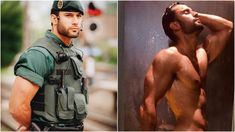 Spain's 'hot cop' goes viral AGAIN after almost revealing all in steamy shower pic - Olive Press News Spain Hunks Men, Hot Hunks, Beautiful Men Faces, Gorgeous Men, Men In Shower, Sexy Military Men, Rugby Men, Scruffy Men, Hot Cops