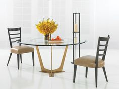 Bronze steel base round dining table (WD13/60RD GL) and Trigere ladderback side chairs (FS28S)