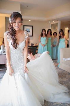 Wedding dress and hairstyle idea; photo: KLK Photography
