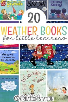 20 Weather Books for Little Learners Teaching our little learners about about the weather is such an Weather Activities Preschool, Weather Kindergarten, Teaching Weather, Kindergarten Science, Preschool Books, Book Activities, Classroom Activities, Science Books, Science Notebooks