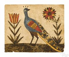 Engraver Artist (Pennsylvania, active watercolor fraktur of a peacock flanked by two flowers, x 3 Provenance: Dr. Illustrations, Illustration Art, Folk Art Flowers, Wall Flowers, German Folk, Bird Quilt, Tapestry Fabric, Primitive Folk Art, Naive Art