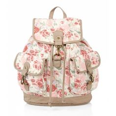 Pink Vintage Floral Print Backpack ($25) ❤ liked on Polyvore featuring bags, backpacks, accessories, bolsas, pink rucksack, floral rucksack, floral-print backpacks, vintage rucksack and backpack bags