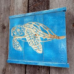 SEA TURTLE Wall Art V-CARVED - Reclaimed Wood
