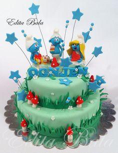smurfs cake pastel pitufos