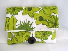Folded Clutch Bag Large Flower in Green by thejoyschoppe on Etsy, $14.00