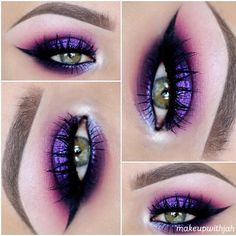 purple smokey eye with winged liner | makeup @makeupwithjah