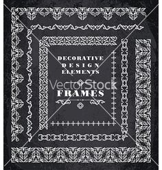 Set of retro vintage frames and borders chalk vector 4165157 - by Nadezhda on VectorStock®