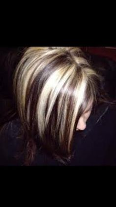 Chunky pale blonde highlights with dark chestnut brown base color by janice
