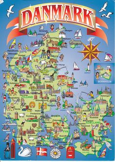 Denmark map postcard with pictures Denmark Map, Denmark Travel, Copenhagen Denmark, Legoland, Scandinavian Countries, Voyage Europe, Odense, Thinking Day, Vintage Travel Posters