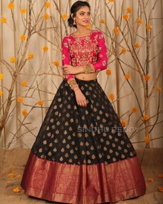 Beautiful black color benaras lehenga and pink color crop top. Lehenga with big boarder. Blouse with sleeves and hand embroidery kundan work. Half Saree Lehenga, Lehenga Blouse, Indian Lehenga, Silk Lehenga, Indian Gowns, Sarees, Half Saree Designs, Lehenga Designs, Saree Blouse Designs
