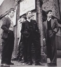 Teddy Boys gather outside a Picture House on the Old Kent Road, 1955.