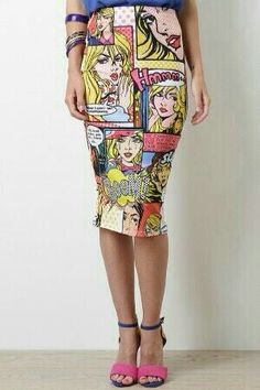 Leave everyone talking about your fun unique style in this Gossip Queen Skirt. This sleek pencil skirt features an elasticized waist, stretchy sculpture fit, and comic print throughout. Pop Art Fashion, Fashion Outfits, Pop Art Costume, Diy Tattoo, Couture, Trends, Dress Me Up, Street Style, Style Inspiration