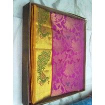PINK COLOR WITH PEACOCK DESIGN BORDER DHARMAVARAM PURE SILK SAREE