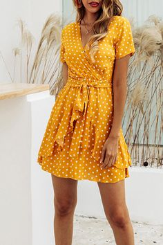 Summer Fashion Print Polka Dot V-Neck Ruffle Waistband Dress-Yellow - Yellow Dresses - Ideas of Yellow Dresses - Summer Fashion Print Polka Dot V-Neck Ruffle Waistband Dress Yellow Dress Casual, Yellow Dress Summer, Dress Black, Sexy Dresses, Cute Dresses, Casual Dresses, Elegant Dresses, Flower Dresses, Awesome Dresses