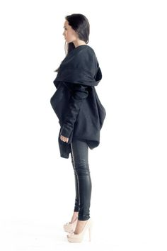 Gorgeous Hooded Dark Grey Kasha Coat / Extra Long sleeves / Thumb hole sleeves Extravagant and Unique Dark Grey Asymmetrical Coat With Double Sided Zip ....so comfortable and always in Style! Be Modern and Elegant and DARE to WEAR! Different sizes available S,M,L,XL Because of the loose