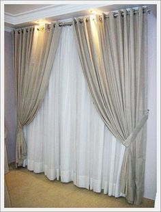 cortinas de varao duplo 1 Drapery, Curtains, Ceiling Design, Sweet Home, Windows, Living Room, Interior Design, Home Decor, 1