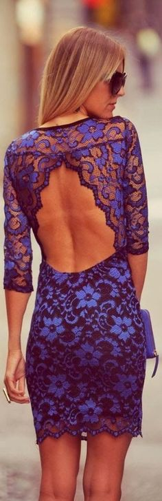 Gorgeous floral lace detail open back dress