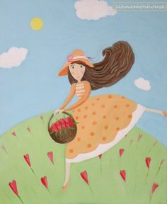 GARDENER acrylic painting. Beautiful  one on by cinnamonnhouse
