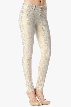 The Skinny in White with Gold Jacquard Snake - The Skinny is our skinniest body. It is a second skin fit with a shorter inseam. This pant is made of a woven jacquard fabric that features a subtle metallic snakeskin pattern. Rocker Chic Style, Jacquard Fabric, Second Skin, Denim Fashion, Skinny, Precious Metals, My Style, Snake