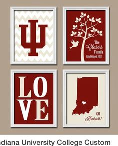 Indiana University College Custom Family Monogram Initial State LOVE Bird Tree Wedding Date Artwork Set of 4 Prints Wall Decor Art But obviously Purdue University! Indiana University, University College, Bird Tree, Tree Wedding, Monogram Initials, Craft Gifts, Wall Art Decor, Projects To Try, Christmas Gifts