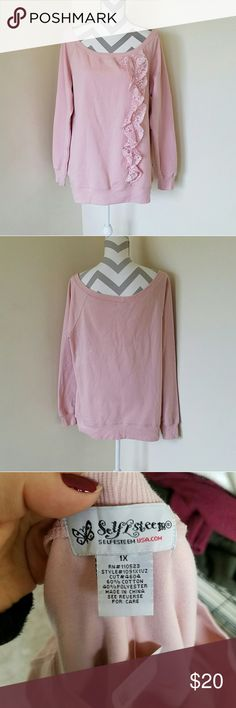 Pink Lace Sweatshirt! Light pink sweatshirt with lace ruffles down the front. Soft and warm. Length is about 29 inches and armpit to armpit is about 23 inches. Brand new with tags! Self Esteem Tops Sweatshirts & Hoodies