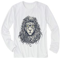 "Unisex Long Tee, Men Long T-Shirt, Women Long T-Shirt, Graphic tee, Gift for him, Gift for her,  ""Gorgeous Mane Nerd Lion"" Long Tee Shirt"