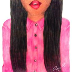 #pink #drawings #Art #blackhair by Rayy® Art