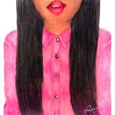 #pink #drawings #Art #blackhair by Rayy® Art