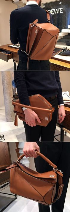 Loewe puzzle bag- sophisticated for any occasion Loewe Puzzle, Puzzle Bag, Backpack Bags, Leather Backpack, Leather Bags, Tote Bags, Leather Handbags, Fashion Bags, Mens Fashion