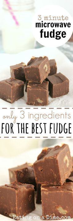 Here is the best microwave fudge recipe.This easy 3 ingredient fudge is so easy.Learn how to make fudge in the microwave.Microwave fudge recipes are so good (hamburger recipes easy 3 ingredients) Jello Recipes, Candy Recipes, Dessert Recipes, Kid Recipes, Whole30 Recipes, Vegetarian Recipes, Healthy Recipes, Hamburger Recipes, Fast Recipes