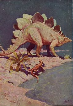 James E. Allen illustration from the Sinclair Dinosaur Book