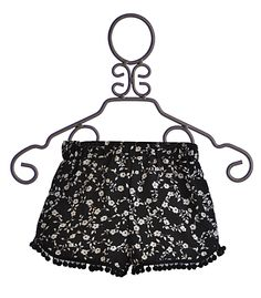 Over the Top Girls Flowy Shorts in Black and White -- LOVE those little black pompoms hanging off the bottom