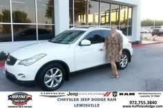 https://flic.kr/p/xgANfu | #HappyAnniversary to Margot and your 2008 #Infiniti #EX35 from Everyone at Huffines Chrysler Jeep Dodge Ram Lewisville! | www.deliverymaxx.com/DealerReviews.aspx?DealerCode=XMLJ