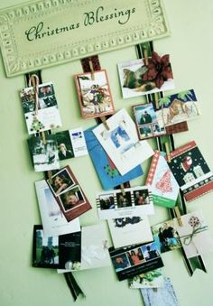 I need a new way to hang Christmas cards and pics.... this might work! ~by Rocky Bella