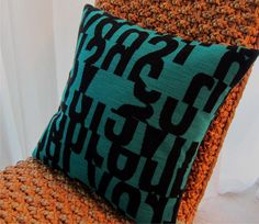 Letters MCM Decorative Pillow Cover   Aqua  by atomiclivinhome, $78.00