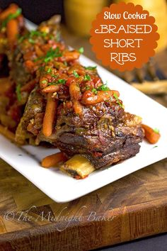 Slow Cooker Braised Short Ribs | bakeatmidnite.com | #SlowCooker #CrockPot #ShortRibs #ShortRibRecipe