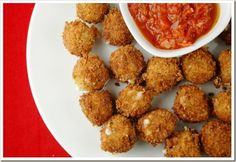 Fried Mozzarella Balls with Quick Tomato Sauce #recipe