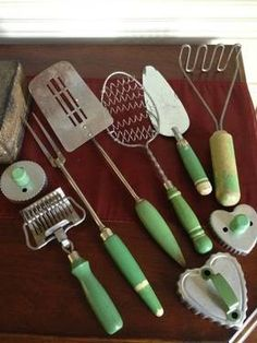 vintage kitchen utensils with green handles | Antique Green Wood Handle Kitchen Cooking Utensils Lot of 9 for Sale ...