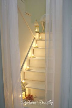 awesome Astonishing Ramadan Stairs Decor Ideas With Diy Lights That You Will Love It Vintage Shabby Chic, Shabby Chic Homes, Ramadan, Chandeliers, Stair Decor, Candlemaking, Light My Fire, Stairway To Heaven, Romantic Homes