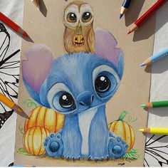 Stitch and owl by SkyKristal on DeviantArt stitch and owl [reupload] by SkyKristal on DeviantArt Cute Disney Drawings, Cute Animal Drawings, Pencil Art Drawings, Art Drawings Sketches, Kawaii Drawings, Easy Drawings, Drawing Faces, Art Illustrations, Arte Disney