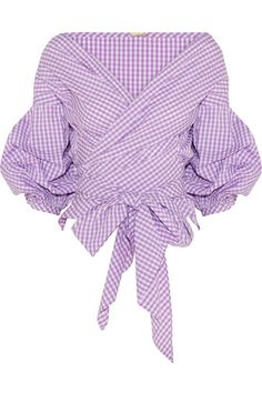 Lavender and white cotton-poplin Ties at back 100% cotton Machine wash
